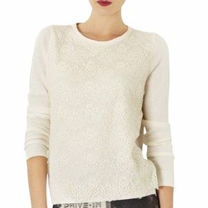 Topshop Lace Overlay Knit Sweater